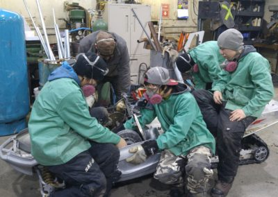 Dismantling an old skidoo for upcycling