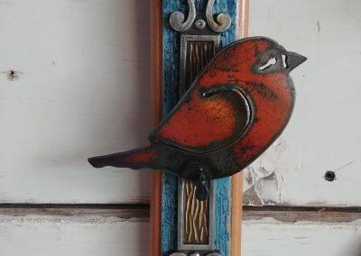 Burnt Orange Bird on Block