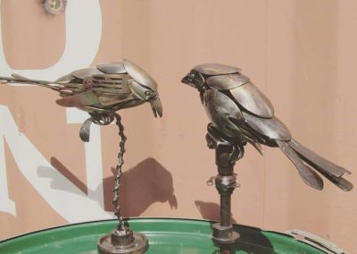 Cutlery birds on stands